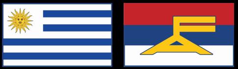 banderas del Frente Amplio y de Uruguay
